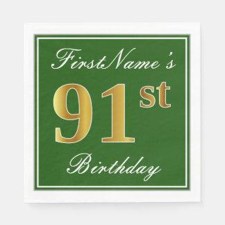 Elegant Green, Faux Gold 91st Birthday + Name Disposable Napkins