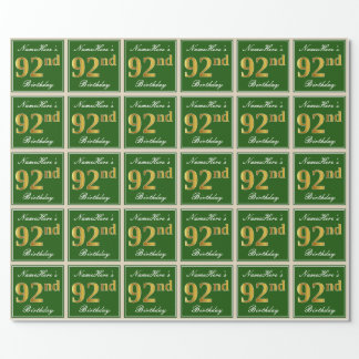 Elegant, Green, Faux Gold 92nd Birthday + Name Wrapping Paper