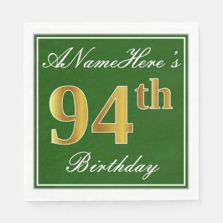 Elegant Green, Faux Gold 94th Birthday + Name Paper Napkin