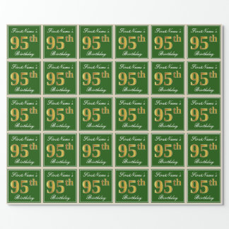 Elegant, Green, Faux Gold 95th Birthday + Name Wrapping Paper