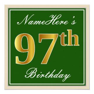 Elegant, Green, Faux Gold 97th Birthday + Name Card