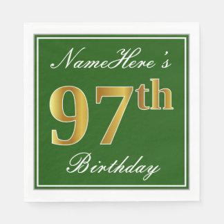 Elegant Green, Faux Gold 97th Birthday + Name Paper Napkins