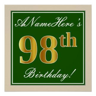 Elegant, Green, Faux Gold 98th Birthday + Name Poster