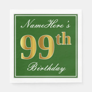 Elegant Green, Faux Gold 99th Birthday + Name Disposable Napkins