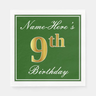 Elegant Green, Faux Gold 9th Birthday; Custom Name Disposable Napkins