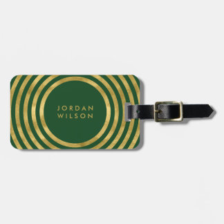 Elegant Green & Faux Gold Circles Geometric Lines Luggage Tag