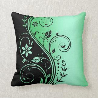 Elegant Green Floral Scroll Black Pillow