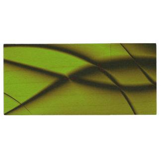 Elegant Green Fractal Design Wood USB 2.0 Flash Drive