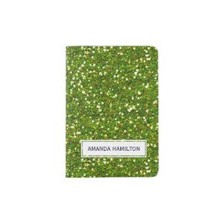 Elegant green glitter sparkling add your name passport holder