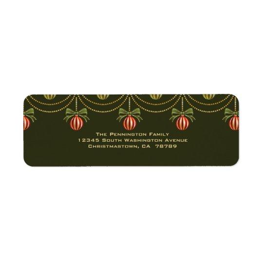 Elegant green gold christmas holiday address label