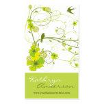 Elegant Green Hibiscus Floral Swirl Swallows Birds