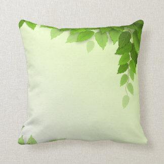 Elegant Green Leaves Frame  | Throw Pillow