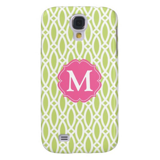 Elegant Green Modern Trellis Personalized Galaxy S4 Covers