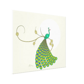 Elegant Green Peacock Stretched Canvas Prints