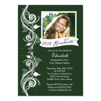 "Elegant Green Photo Graduation Party Invitation 5"" X 7"" Invitation Card"