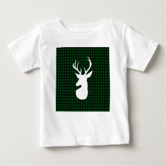 Elegant Green Plaid Deer Design Baby T-Shirt
