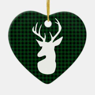 Elegant Green Plaid Deer Design Ceramic Ornament