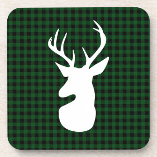 Elegant Green Plaid Deer Design Coaster