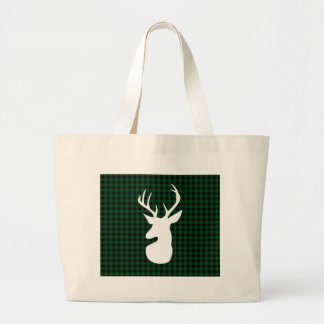 Elegant Green Plaid Deer Design Large Tote Bag
