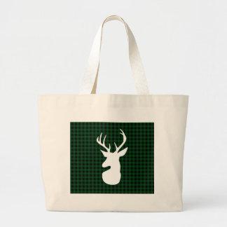 Elegant Green Plaid Deer Design Large Tote Bag