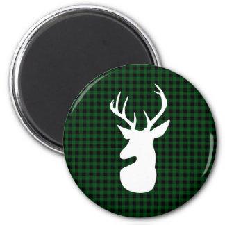 Elegant Green Plaid Deer Design Magnet