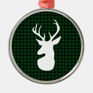 Elegant Green Plaid Deer Design Metal Ornament