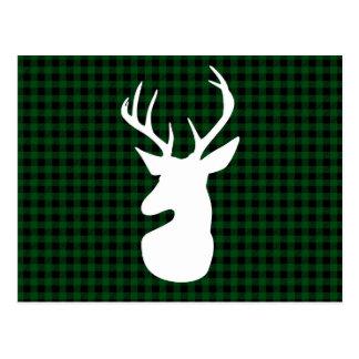 Elegant Green Plaid Deer Design Postcard