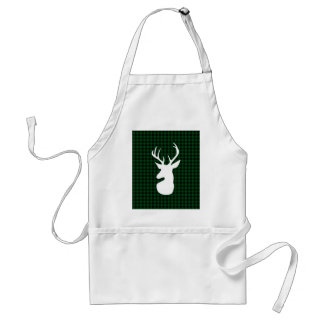 Elegant Green Plaid Deer Design Standard Apron