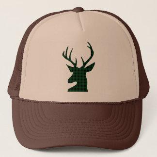 Elegant Green Plaid Deer Design Trucker Hat
