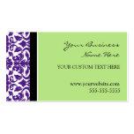 Elegant Green Purple Damask Business Cards