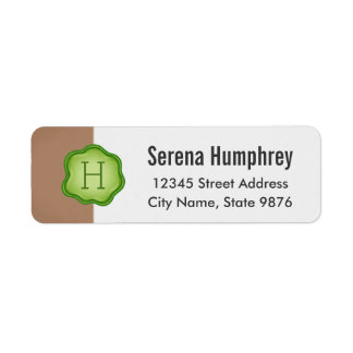 Elegant Green Stamp Monogram on Chestnut Brown Return Address Label