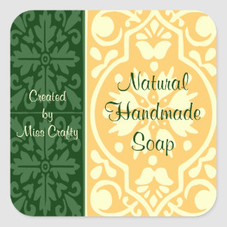 Elegant Green Tan Custom Craft Labels