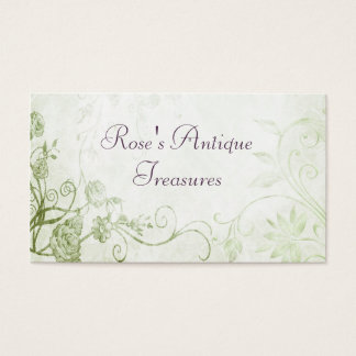 Elegant Green Vintage Flower Shop Business Card