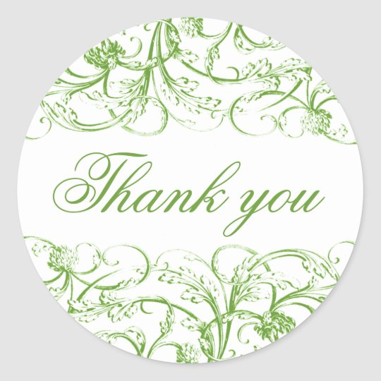 Elegant green vintage swirls thank you stickers