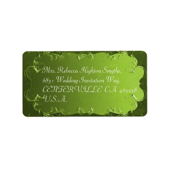 Elegant Green Vintage Wedding Address Labels