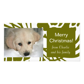 Elegant Green White Dog Christmas Photo Cards