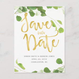 Elegant Greenery and Gold Script Save the Date Announcement Postcard