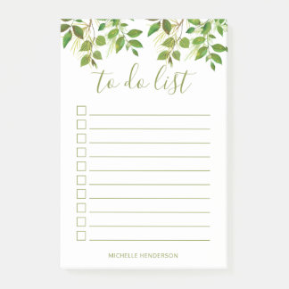 Elegant Greenery Botanical Wedding To Do List Post-it Notes