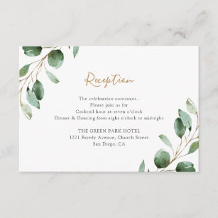 Elegant Greenery Eucalyptus Wedding Reception Enclosure Card