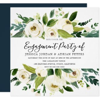 Elegant Greenery White Floral Engagement Party Card