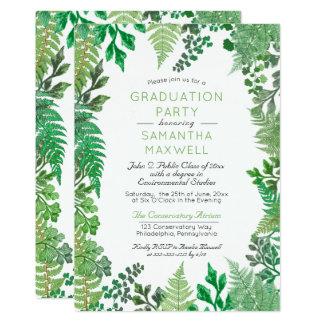 Elegant Greenery   Wild Ferns Graduation Party Card
