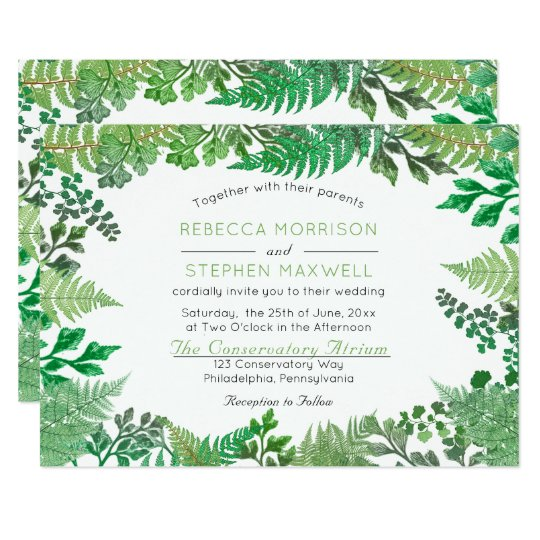 Elegant Greenery | Wild Ferns Wedding Invitations