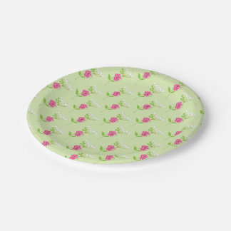 Elegant Greenery Wild Flowers Pink Green 7 Inch Paper Plate