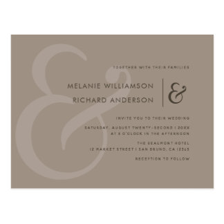 Elegant Greige Ampersand Script Wedding Invitation Postcard