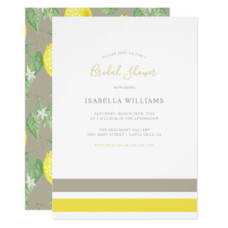 Elegant Greige & Citrus Lemon Bridal Shower Card