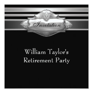 Elegant Grey and Black Mans Retirement Party Card