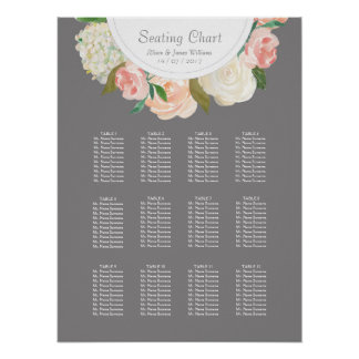 Elegant grey and roses weddin dinner seating chart poster