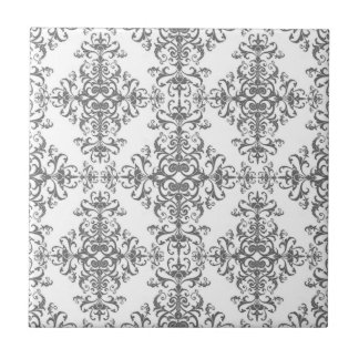 Elegant Grey and White Floral Damask Victorian Art Ceramic Tile