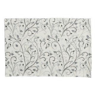 Elegant grey contrast leaf pattern pillowcase