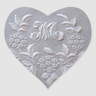 Elegant Grey Embroidery Floral Monogram letter M Heart Sticker